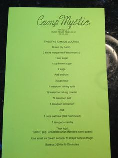 Tweety cookie recipe Camp Mystic- one of the best parts about being a Mystic camper!