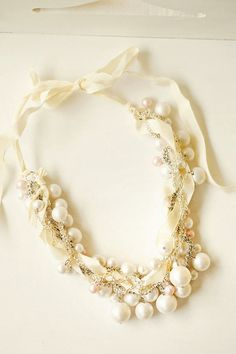 Chunky Pearl Twisted Ribbon Necklace Vintage