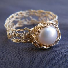 Pearl Solitaire Ring, Crochet Gold Filled Wire -- would make a unique engagement ring!