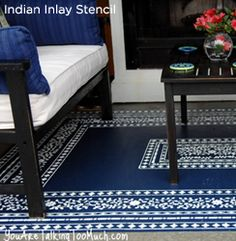 Goregeous! This rug has been stenciled with the Indian Inlay Stencil from Cutting Edge Stencils.  http://www.cuttingedgestencils.com/indian-inlay-stencil-furniture.html  #furniturestenciling     #stencils #cuttingedgestencils #stenciling #stencilpatterns
