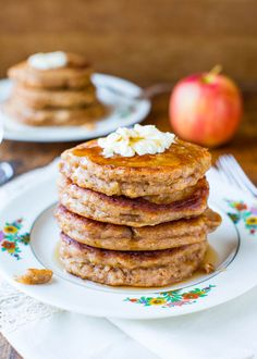 Apple Pie Pancakes with Vanilla Maple Syrup - Easy Recipe at averiecooks.com