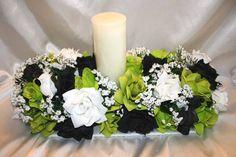 Lime Green Black Silk Wedding Flowers Centerpiece