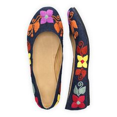 Floral Fields Hand Embroidered Ballet Flats | Etre Touchy Gloves | Fair Trade Accessories | USA-Made Accessories | Fair Indigo