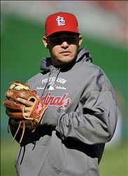 Game 4 of the NLDS- Yadier Molina warming up 10-11-12
