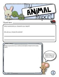 My Animal Report {Student Research Template}  3 pages, $