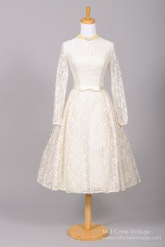 1950s Long Lace Sleeve Vintage Wedding Dress from Mill Crest Vintage