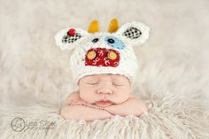 Newborn Cow Hat  Baby Cow Hat  Newborn Photo Prop  by bitOwhimsy