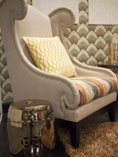 Boris Eckey's wingback chairs with mixed fabrics in his HGTV Star vignette. (http://www.hgtv.com/hgtv-star/hgtv-star-photo-highlights-from-episode-1/pictures/page-18.html?soc=Pinterest)