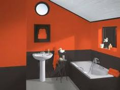 Guest bath ideas on pinterest shower curtains african for Orange and brown bathroom ideas