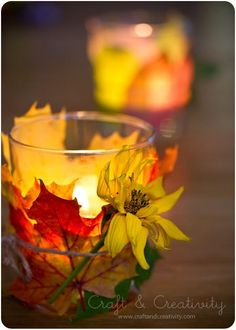 craft, fall leaves, floating candles, autumn leaves, diy home, autumn lantern, backyards, tea lights, autumn decorations