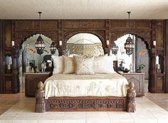 Moroccan style interior: Hand carved Bed