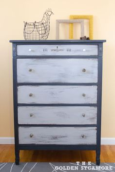 A vintage dresser finished in Graphite & Paris Grey Chalk Paint® decorative paint by Annie Sloan | By Allison of The Golden Sycamore