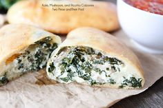 Kale, Mushroom, and Spinach Calzones