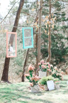 vintage window ceremony decor http://www.weddingchicks.com/2013/08/28/vintage-backyard-wedding-2/