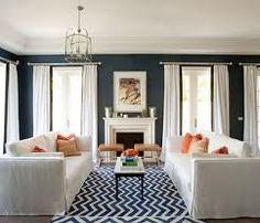 note: blue chevron over white furniture. :)