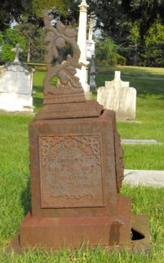 Old St Joseph Cemetery has a number of metal grave markers from the 19th Century.