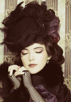 costum, vintage beauty, style, fashion vintage, hair makeup, glove, vintage hats, wedding outfits, black