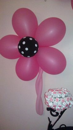 """Photo 4 of 12: black and white polka dots and damask with fuschia / hot pink accents / Baby Shower/Sip & See """"Yamell's baby shower"""" 