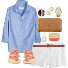 blue button down, white shorts, sandals