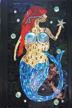 Mosaic Mermaid Stained Glass Mosaic Window