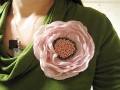 fabric flower brooch - love the beaded center