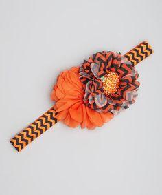 Orange & Black Chevron Pumpkin Headband