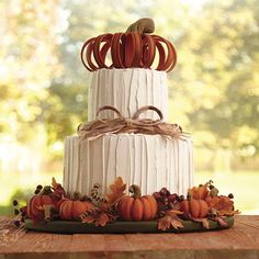 Impress your guests with a towering, pumpkin-topped, two-tier cake. It's great for Thanksgiving or any fall celebration.