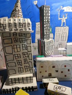 Upcycled New York City recycl, upcycl, school, art project, art 2014, cardboard art, new york city, people, paper maich