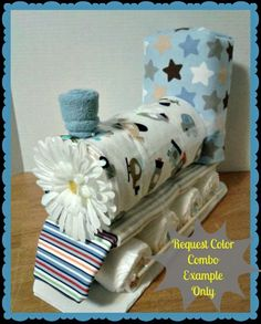 Diaper Cake - This diaper train looks ready to roll down the track. @BabyCenter