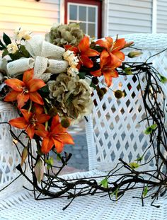 Lily and Peony Square Wreath Burlap Fall Door Hanger Home Decoration Wall Hanging Orange Cream Silk Faux Fall Autumn Floral Summer Spring on Etsy, $65.00