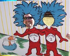 Thing 1, Thing 2 photo backdrop for Dr. Seuss party my sister threw.