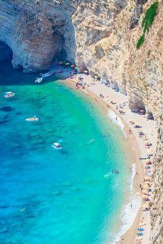 """Cliff Beach - Corfu, Greece | via ally """