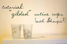DIY Faux gilded votive cups