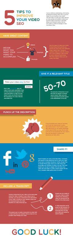 How to Improve Your Video #SEO - #infographic #Videomarketing #socialmedia