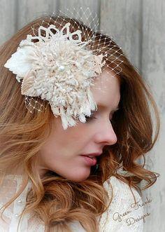 Lace Wedding Headpiece / Shabby Bird Cage Veil by GreenTrunkDesigns