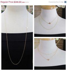 34 OFFSET Sideways Cross Necklace Long by gemsinvogue, $36.00