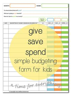 Kids give save spend budget sheet printable // by ATime4Everything, $2.00 - perfect for the personal management merit badge!