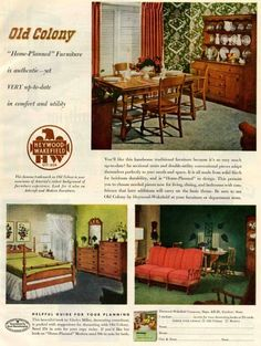 1940s decorating style --- Retro Renovation --- traditional, Colonial style furniture.
