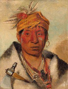 Native American George Catlin Ah-yaw-ne-tak-oár-ron, a Warrior, via Flickr.