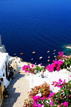 Santorini - Ammoudi Harbor From Oia by okbends, via Flickr
