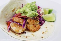 Grilled Shrimp Tacos with Purple Cabbage Coleslaw and Cilantro Lime-Smashed Guacamole #Recipe