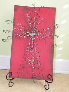 Wire Crosses on Painted Barn Wood