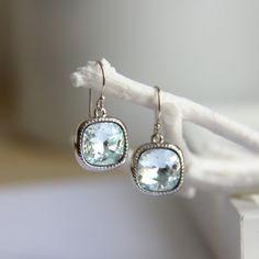 Aquamarine Earrings with Light Blue Swarovski Crystals - Gift for her