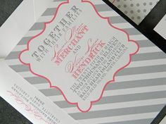 Kelcie Invitation, RSVP Card and Reception Card Set  Preppy. Whimsical. Modern. Kelcie.