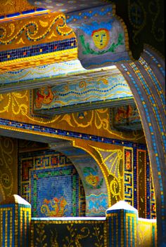 Ceiling of the blue pool at the Hearst Castle, San Simeon, CA