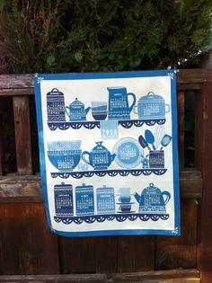 2013 TEA TOWEL Kitchen Shelf Blue by Tastietreats on Etsy, $18.00