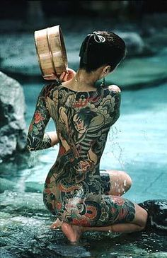 Japanese inked girl bathing