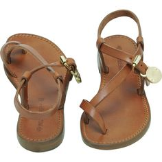 Bayswater Flat Sandal Oak Dip Dyed Leather