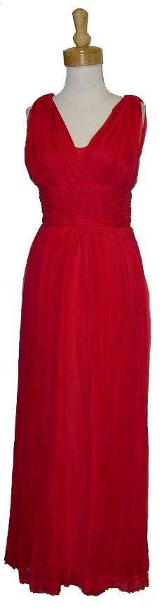 PAQUIN Pleated Red Chiffon Goddess Evening Gown