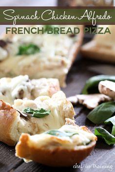 Spinach Chicken Alfredo French Bread Pizza | Chef in Training
